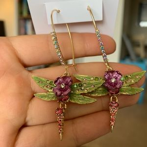 Betsey Johnson Opulent Floral Dragonfly Earrings